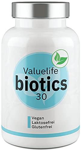 Biotics30 Darmflora Komplex I 30 Bakterienstämme mit Bio-Inulin I 60 Tages Intensiv- Darmkur I Magensaftresistente Kapseln mit je 5 Milliarden lebenden KBE I Vegan & Laktosefrei von VALUELIFE
