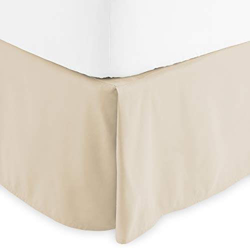 Bare Home Bed Skirt Double Brushed Premium Microfiber, 15-Inch Tailored Drop Pleated Dust Ruffle, 1800 Ultra-Soft Collection, Shrink and Fade Resistant (Queen, Sand)
