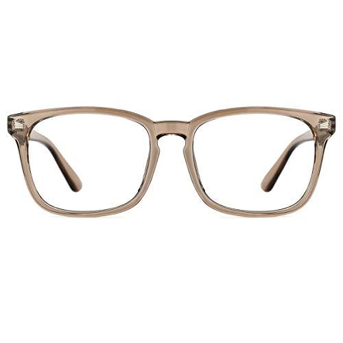 TIJN Blaulichtfilter Brillen Anti blaulicht Damen Herren Brillen ohne sehstärke Computer Brillen Gaming Brillen für PC Handy und Fernseher (Kaffe)