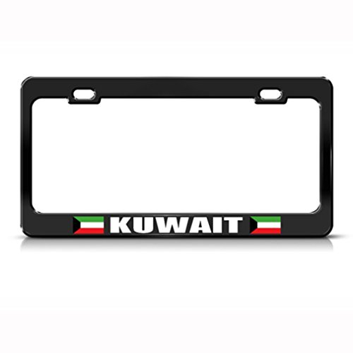 Speedy Pros Metal License Plate Frame Kuwait Flag Black Country Car Accessories Black 2 Holes