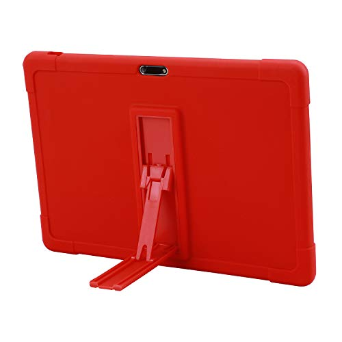 Dragon Touch Max10 Tablet Case,Dragon Touch Max10 Plus Tablet / ZONKO 10.1 inch Tablet case [Kickstand] Shockproof Silicone Stand Case Cover for Dragon Touch Max10 Tablet (Red)