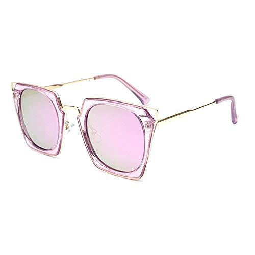 LG Snow Polarisierte Sonnenbrille für Damen, transparent, quadratisch, großer Rahmen, Cat Eye, UV400 Schutz (Farbe: Violett)