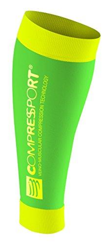 COMPRESSPORT R2 Fluo Pantorrillera, Unisex, Verde Fluor, 3