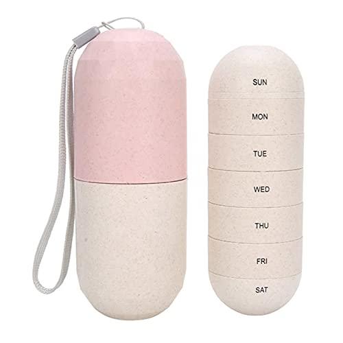 Bärbar medicin låda 7 rutnät pillerask behållare piller organiserare bärbar vecka kapselform medicin fodral 7 dagars resor piller låda förvaring behållare (färg: Rosa)