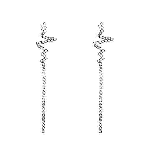 Ruby569y Pendientes colgantes para mujeres y niñas, pendientes de gota con diamantes de imitación de corazón largos ECG