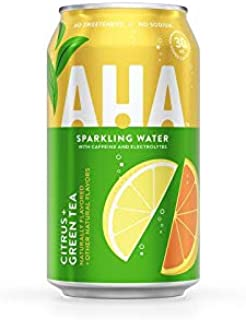 AHA Sparkling Water, Citrus + Green Tea, 16 Oz Can (Pack of 12)
