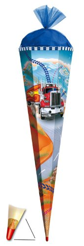 alles-meine.de GmbH Schultüte - Truck 35 cm - mit Tüllabschluß - Zuckertüte Roth LKW Auto Autos Straße Fahrzeug Fahrzeuge