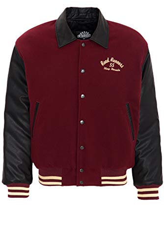 King Kerosin Herren Baseball Jacke Im Retro Look Road Runners Langarm Bomberjacke Regular Fit Vintage Rippbündchen Road Runners