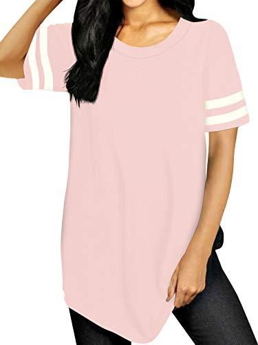 VONDA Magliette Donna Manica Corta Estiva Baseball T-Shirt a Righe Casual Camicia Tuniche Tops Oversize Camicetta DD-Rosa L