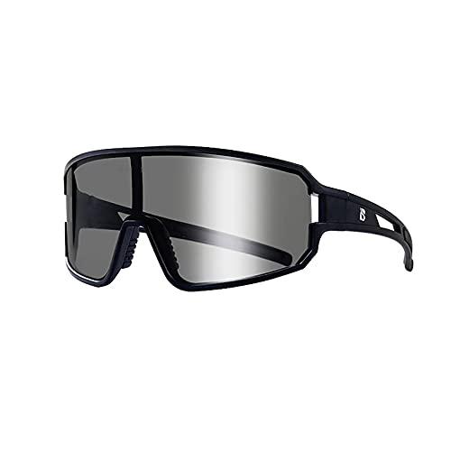 Pkommn Gafas de sol deportivas polarizadas, gafas holográficas de ciclismo inteligentes que cambian de color para mujer, hombre, gafas de conducción, ciclismo, correr (negro)