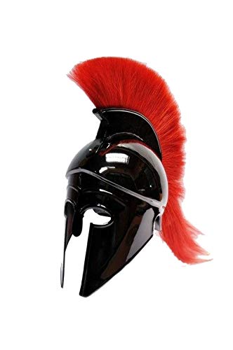 AnNafi Greek Corinthian Helmet with Red Plume|Wearable Helmet Armor|Roman Knight Spartan LARP Costume