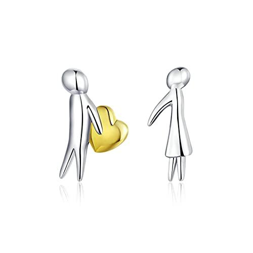 Pendientes De Novedad De Plata Esterlina 925 De La Serie del Día De San Valentín Acepte My Heart Lover Couple Stud Ear Pin Pendiente De Regalo para Esposas Novias