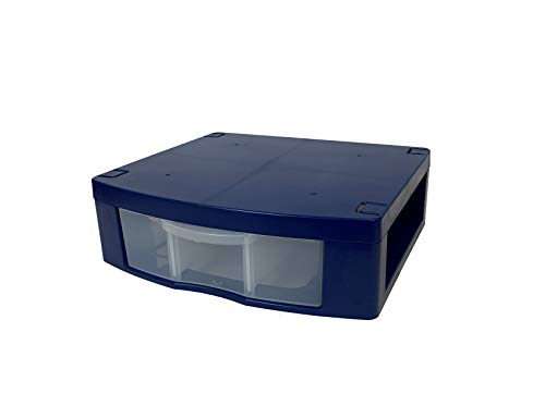 """Tools for School Locker Drawer. Includes 2 Removable Drawer Dividers. Heavy Duty. Fits 12"""" Wide Locker, 11.75"""" W x 10.25"""" L x 3.75"""" H (Blue, Single Drawer)"""