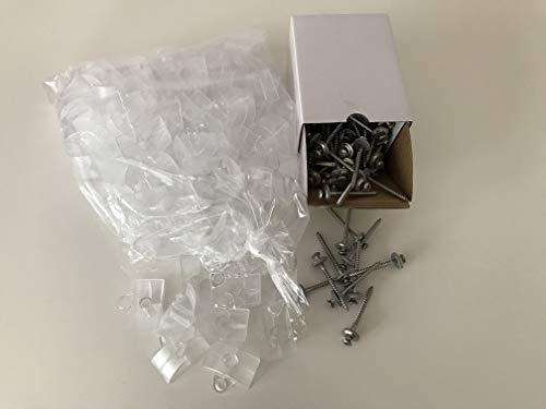Set aus je 100 Stück Abstandhalter & Spengler-Schrauben TX20 EPDM-Dichtscheiben 4,5x55mm für Trapez-Sinus Profil 76/18 Wellplatten PMMA Acrylglas Polycarbonat