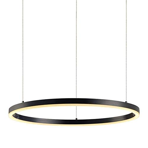 ZHAOJDD Light up Life / Boutique Lighting plafondlamp met afstandsbediening eettafel lamp woonkamer lamp zwart hanglamp Moderne eenvoudige hanglamp acryl ring lamp hanglamp 100 cm.