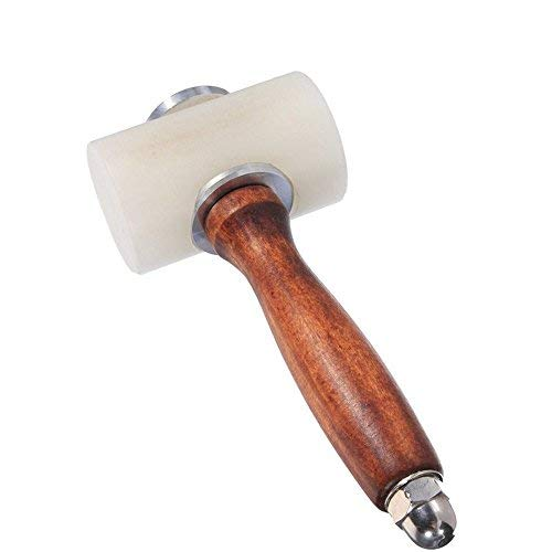 AIBER Leather Carving Hammer Mallet for Leather Work Leather Mallet Cowhide Sew Club DIY Leathercraft Wooden Mallet Wood Handle (T-Head)