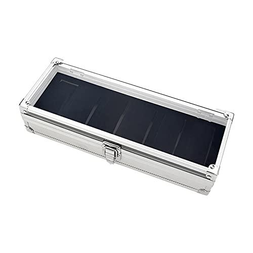 XPT Caja de almacenamiento de reloj portátil exquisita 6 ranuras tapa de cristal caja blanca para almacenamiento de relojes regalo 6 rejillas