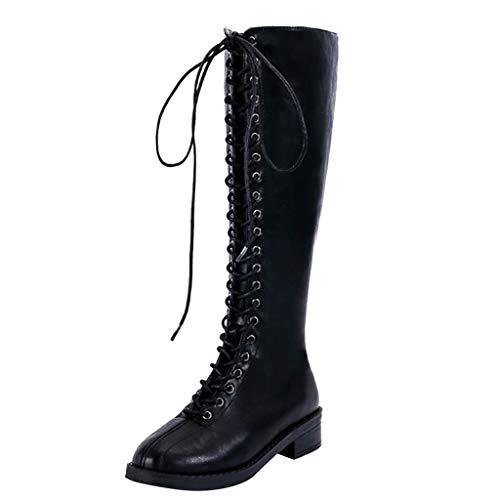 LIHAEI Knie Stiefeletten Damen Reiten Leder SchnüRstiefeletten ÜBergrößEn Schuhe Damen Overknee Stiefel Schwarz GeschnüRt Motorradstiefel