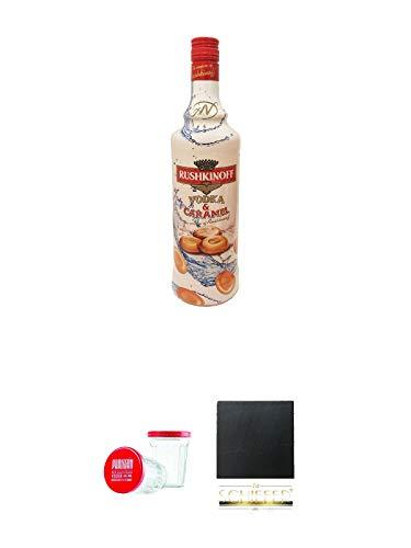 Rushkinoff Vodka & Caramel 1,0 Liter + Partisan Sto Gramm Wodka Glas 10 cl mit Deckel 2 Stück + Schiefer Glasuntersetzer eckig ca. 9,5 cm Durchmesser