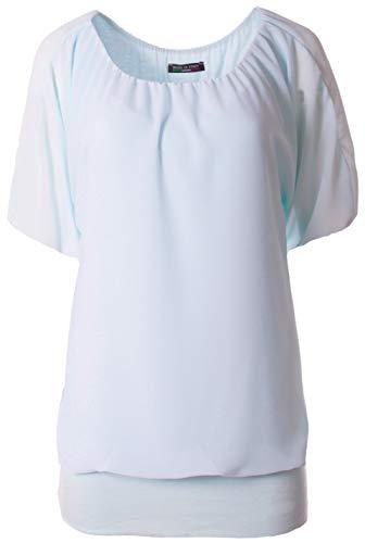 FASHION YOU WANT Damen Oversize Oberteile Tshirt/Pullover Größe 34 bis 50 Uni Übergrößen Shirt Langarm (Kurzarm hellblau, 42/44)