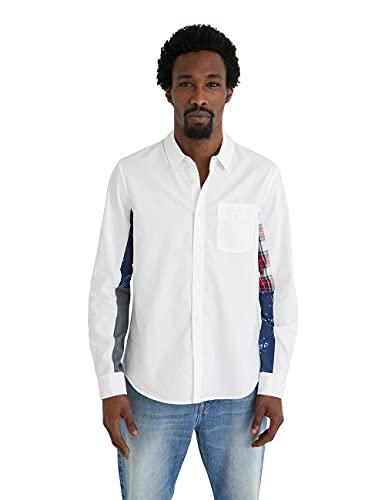 Desigual CAM_Dani Camisa Abotonada, Blanco, XXL para Hombre