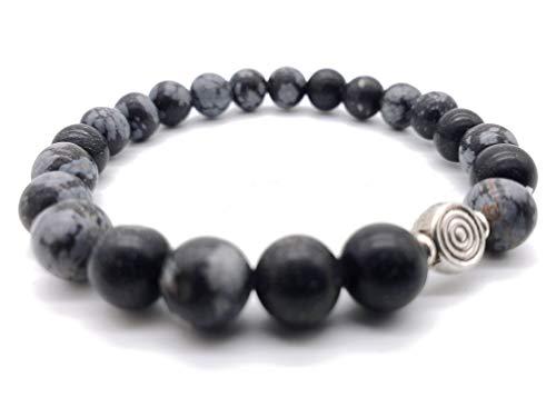 Reiki Schneeflocken-Obsidian Edelstein Armband im Schmuckbeutel