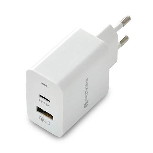 everActive Cargador de Red con USB QC3.0 y Puerto USB-C PD, Carga rápida, Potencia Total de 18 W, sólido, Carcasa de una Sola Pieza, Modelo SC-350Q