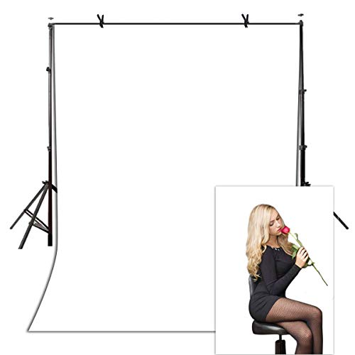 5x7ft Solid Color Backdrop Wrinkle Resistant Polyester Fabric Photography Background White Screen for Photo Video Studio YouTube Photoshoot Backdrop VVM001
