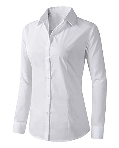 Women's Formal Work Wear White Simple Shirt (225 White, XS)