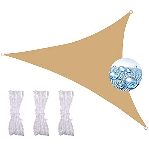 Zqxfz Toldo Vela Impermeable 2.4X2.4X2.4M, Sombra PrevencióN Rayos UV para Patio Al Aire Libre Piscina, Toldo Vela De Sombra Patio, Toldo Vela De Sombra PES Rectangular -Amarillo-Beige
