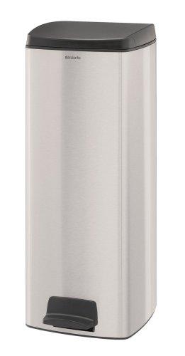Brabantia 369407 Poubelle à Pédale Rectangulaire avec Seau Intérieur Plastique, 25 L - Inox mat anti-trace de doigt