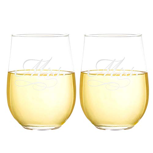Mrs and Mrs Etched 15 oz Stemless Wine Glass Set Gay Weddings Hers and Hers (Mrs and Mrs)