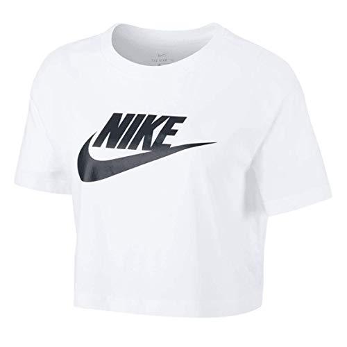 Nike Futura Icon Crop Top - Camiseta para mujer, Todo el año, Redondo, Mujer, color negro/blanco, tamaño XL