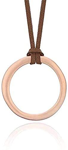 PPQKKYD Collar Collar de sección Larga de Moda de Cuero Negro marrón Real Moda Retro exquisitos y Hermosos Pendientes de aro Collares Pendientes de Hombre Wome
