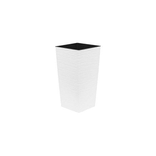 Vaso per piante Finezia scolpito con inserto, altezza 36 cm colore: bianco