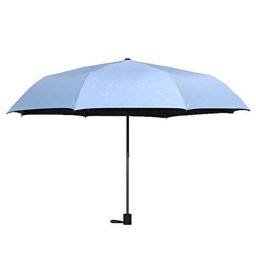 Paraguas Sombrilla Plegable De Moda para Mujer Sombrilla con Filtro Solar Paraguas UV Plástico Negro Pequeño Paraguas Negro (Color : Blue, Size : 61 * 97 cm)