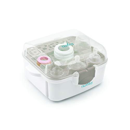Nuvita 1085 | Esterilizador Biberones Microondas | Ultra Compacto 25 cm Cabe en TODOS los Microondas | Compartimento Chupetes y Tetinas Bebés | Asas Anti-Quemaduras | Sin BPA | Marca EU | Blanco