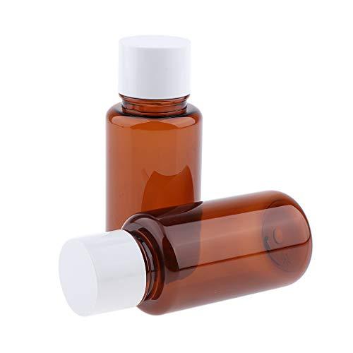 MERIGLARE 2pcs Ambre Vide Tubes De Bouteille En Plastique Bouchons à Vis Lotions De Shampooing - 200 ml