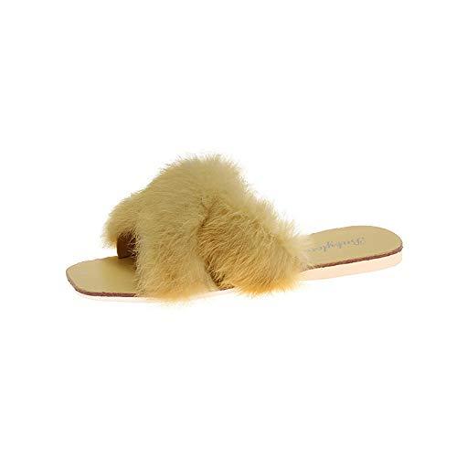 Zquest Botas de Deslizador para Hombre, Zapatillas de Felpa de Moda, Zapatillas Planas cómodas para Mujer-Yellow_35