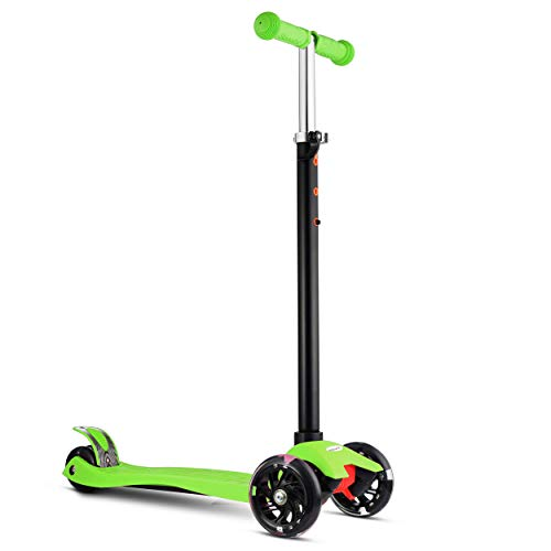 MoBoard Kick Scooter with Extra Wide Deck for Kids amp Toddlers Girls or Boys of 2 to 14 Years – Adjustable Height Lean to Steer with PU Wheels Toddlers Training Three Wheeled Ride Green