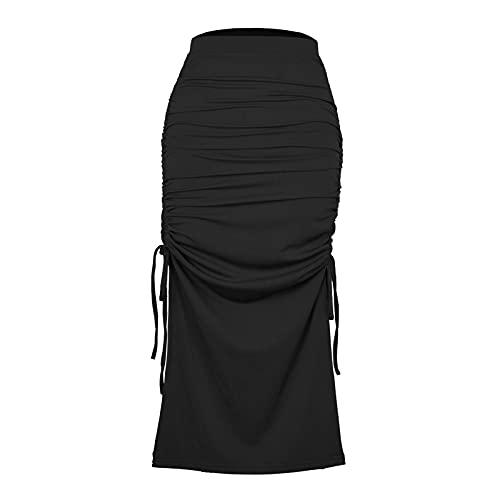 Beautmell Falda de cintura alta acanalada con cordón lateral con cordón para mujer, Negro, 44