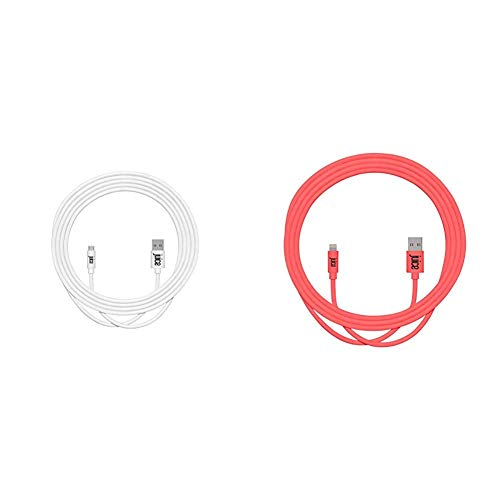 Juice Micro USB 3m Charger and Sync Cable for Android Samsung Galaxy S7,S6,S5, Huawei, Xiaomi, Nokia, Sony, Nexus, HTC, Kindle - White & XL Apple Lightning Charge and Sync Cable, Coral