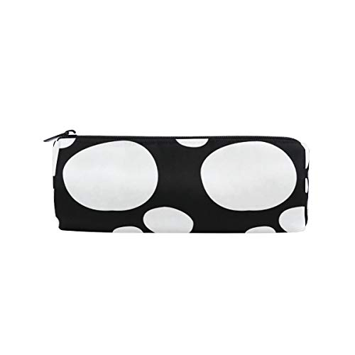 Pencil Bag Pen Case Pouch Art Polka Dot Black White Makeup Cosmetic Round for Girls Boys Travel School