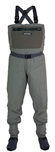 Compass 360 Stillwater II Breathable Fishing Chest Wader (Khaki, Large)