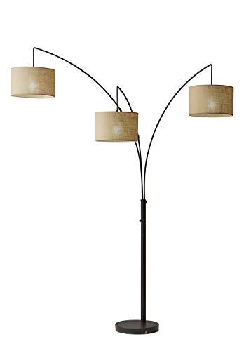 Adesso 4238-26 Trinity Arc Floor Lamp Antique Bronze Finish, Beige Burlap Lamp. Home Decor Lamps and Light Fixtures, 82' (Renewed)