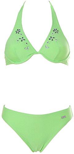 Apart Damen Bügel Neckholder Bikini mit Glitzer Straß Grün 34 Cup A
