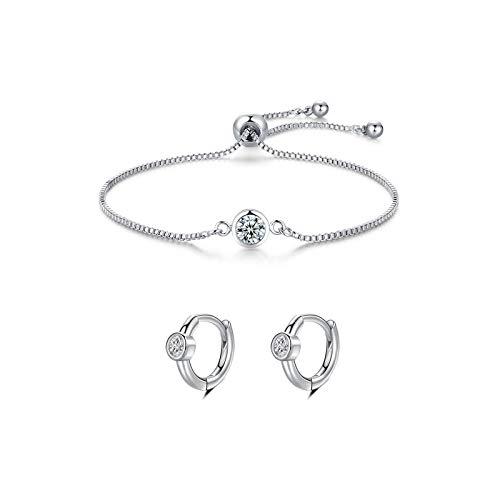 CERSLIMO Juego de joyas para mujer, regalo para mujer, pulsera para mujer y pendientes de aro de plata 925 con circonitas brillantes, día de San Valentín, día de la madre o cumpleaños.