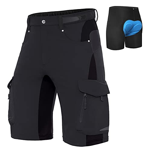 XKTTAC Men's-Mountain-Bike-Shorts MTB Shorts with 6 Pockets (Black with Pad, X-Large)