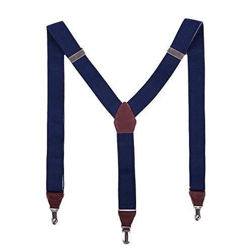 Massi Morino ® Hosenträger für Herren aus echtem Leder, längenverstellbar blau blaue dunkelblau naviblau marineblau ozeanblau arktikblau pazifikblau brilliant azorenblau brombeerblau