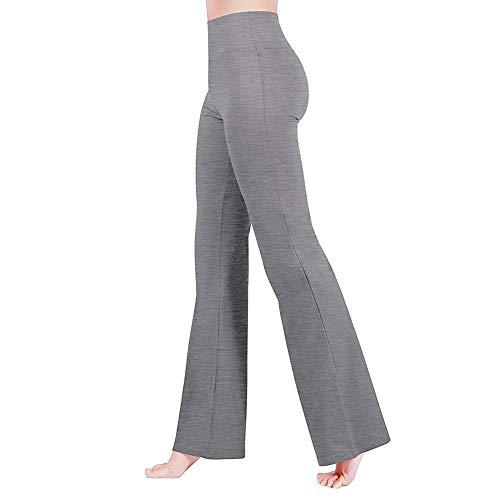 IBAKOM - Leggings de yoga para mujer, cintura alta, pantalones largos para entrenamiento, gimnasio, correr Gris gris XXL